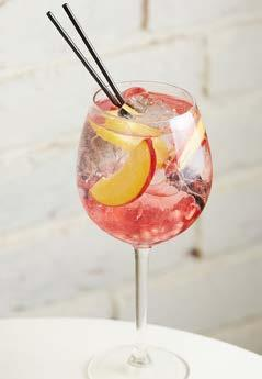 Gin, prosecco, tonic water, cherry syrup, peaches / pomegranate,